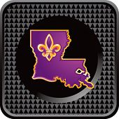 louisiana state symbol on black checkered web button