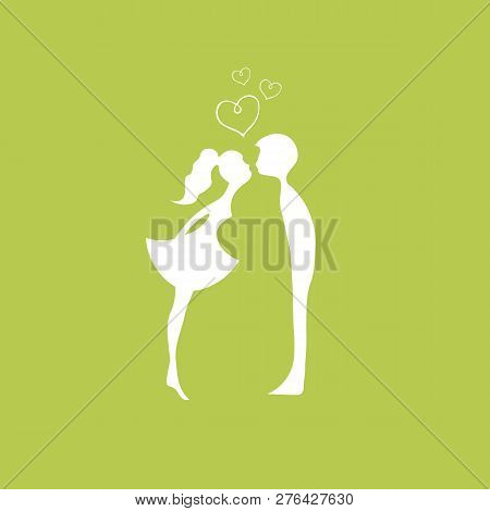 Green Silhouettes Of Kissing Boy