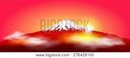 Silhouette Fuji Mountain At Sunrise