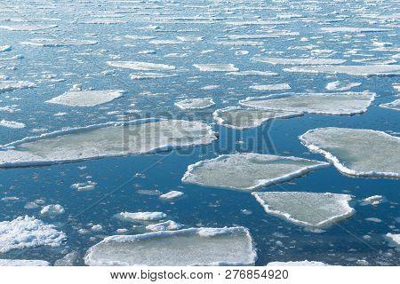 Drift Melting Ice On Seashore