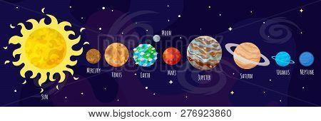 Cartoon Planets Vector Flat Illustration
