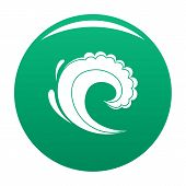 Wave Water Surfing Icon. Simple Illustration Of Wave Water Surfing Icon For Any Design Green poster