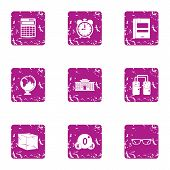 Scientific Investigate Icons Set. Grunge Set Of 9 Scientific Investigate Icons For Web Isolated On W poster