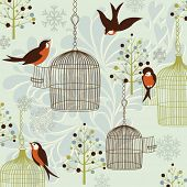 Winter Birds, Birdcages, Christmas trees and vintage background