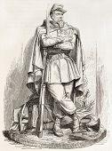 Pont de l ' Alma militärischen Statue, Paris: Chasseur eine Zweifarben (Fuß Jäger). erstellt von Marc nach Wandstücke