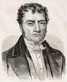 Aime Jacques Alexandre Goujaud Bonpland old engraved portrait, French botanist and explorer. Created by Marc, published on L'Illustration, Paris, 1858