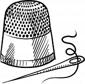 Thimble and needle drawing