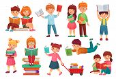 Kids Read Book. Happy Kid Reading Books, Girl And Boy Learning Together And Young Students Isolated  poster
