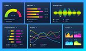 Infographic Dashboard. Finance Data Analytic Charts, Trade Statistic Graph And Modern Business Chart poster