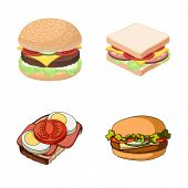 Vector Illustration Of Sandwich And Wrap Logo. Collection Of Sandwich And Lunch Stock Vector Illustr poster