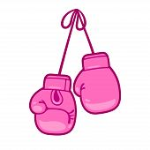 Girly Pink Boxing Gloves Vector Illustration. Pair Of Cute Cartoon Gloves Hanging. poster