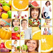 Collage de estilo de vida saludable. Personas, dieta, nutrición saludable, frutas, fitness