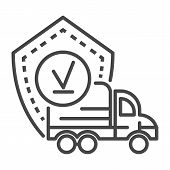 Finish Truck Delivered Icon. Outline Finish Truck Delivered Icon For Web Design Isolated On White Ba poster