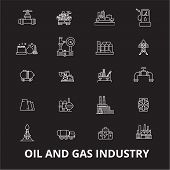 Oil And Gas Industry Editable Line Icons Vector Set On Black Background. Oil And Gas Industry White  poster