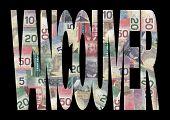 Постер, плакат: Ванкувер текст с канадских долларов