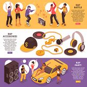 Rap Music Horizontal Banners With Teens Participating In Rap Battle And Rap Party Isometric Vector I poster