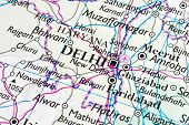 New Dehli on a map
