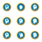 Mental Freedom Icons Set. Flat Set Of 9 Mental Freedom Icons For Web Isolated On White Background poster