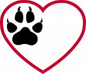 Heart And Paw, Dog Paw And Wolf Paw Logo poster