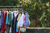 Clothes Line, Outdoor Sunlight Outdoors, Hang Clothes Launch Day In The Countryside. Clothing Colors poster