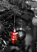 Wooden red toy and gray background