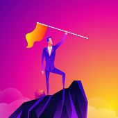 Business Leader Vector Concept With Businessman Planting Flag On Top Of Mountain. Symbol Of Success, poster