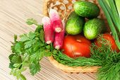 Fresh Vegetables On The Table. Domestic Kitchen