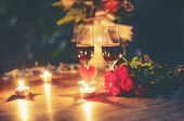 Valentines Dinner Romantic Love Concept Romantic Table Setting Decorated With Red Heart And Couple C poster