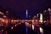 Blue Westerkerk in Amsterdam the Netherlands on the 14th of november 07, during world diabetes day,