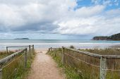 Entrance To The Beach. Inviting Summertime Holiday, Vacation Beach Background poster