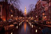 Zuiderkerk in Amsterdam Netherlands at twilight