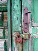 foto of farm-house  - an old house door lock - JPG