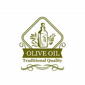 Olive Oil Green Icon Of Natural Organic Oil Bottle Label. Oil Jug With Olive Tree Branch, Green Leaf poster