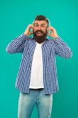 Bearded Man. Hair And Beard Care. Happy Man Hipster Listen To Music. Man In Earphones. Young And Bru poster