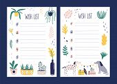 Set Of Wish List Templates Decorated By Houseplants Growing In Pots, Pair Of Cute Dogs Holding Flag  poster