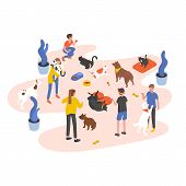 Group Of People Or Volunteers Feeding Pets And Playing With Them In Animal Shelter, Pound, Rehabilit poster