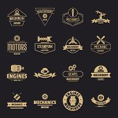 Mechanics Logo Icons Set. Simple Illustration Of 16 Mechanics Logo Vector Icons For Web poster