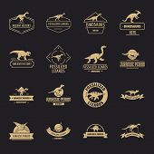 Dinosaur Logo Icons Set. Simple Illustration Of 16 Dinosaur Logo Vector Icons For Web poster