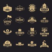 Election Voting Logo Icons Set. Simple Illustration Of 16 Election Voting Logo Vector Icons For Web poster