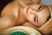 Skin And Body Care. Close-up Of A Young Woman Getting Spa Treatment At Beauty Salon. Spa Face Massag poster