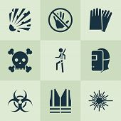 Protection Icons Set With Explosive, Caution, Hand Protection Nuclear Elements. Isolated  Illustrati poster