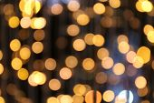Bokeh Background Gold Yellow Colorful Of Merry Christmas, Happy New Year Bokeh Lighting Shine On Nig poster