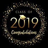Class Of 2019 Graduation Poster With Gold Glitter Confetti. Class Of 20 19 Congratulations Design Gr poster