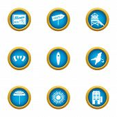 Beach Tan Icons Set. Flat Set Of 9 Beach Tan Icons For Web Isolated On White Background poster