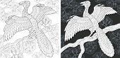 Coloring Page. Dinosaur Collection. Colouring Picture With Archeopteryx Drawn In Zentangle Style. poster