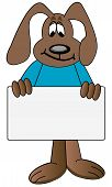 stock photo of cartoon character  - brown dog cartoon holding up blank sign - JPG