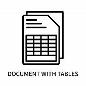 Document With Tables Icon Isolated On White Background. Document With Tables Icon Simple Sign. Docum poster