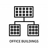 Office Buildings Icon Isolated On White Background. Office Buildings Icon Simple Sign. Office Buildi poster