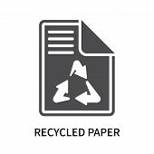 Recycled Paper Icon Isolated On White Background. Recycled Paper Icon Simple Sign. Recycled Paper Ic poster
