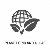 Planet Grid And A Leaf Icon Isolated On White Background. Planet Grid And A Leaf Icon Simple Sign. P poster